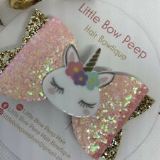 "🎀Handmade 3"" Girls Sparkly Pink Glitter Unicorn Hair Bow 🎀"