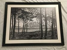"M.C. Escher Pineta of Calvi Corsica matted and framed B&W art print rare 24""x32"""