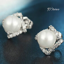 18K WHITE GOLD GF MADE WITH SWAROVSKI CRYSTAL PEARL STUD EARRINGS ELEGANT