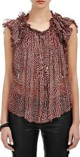 ISABEL MARANT Pleated Georgette Silk Marcia Blouse in Brick Red FR 40 - $780