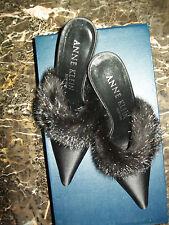 "Anne Klein Sexy 3"" Marabou High Heels Pointy Toe Stilettos Slippers 7.5M Italy"