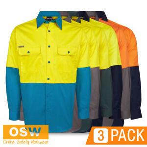 3 x Hi Vis Light Weight Long Sleeve Vented COTTON Drill Day Work Shirt 6HWSL