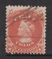 CHILE 1867 5c Columbus Pen Cancel  #
