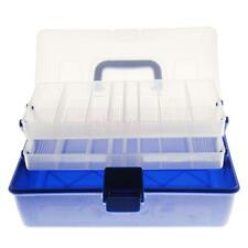 Multiple Compartments 3 Layers Plastic Fishing Tackle Box Hooks Baits Case