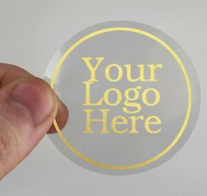 Clear round 45mm 50mm 65mm 90mm stickers gold shiny foil logo transparent labels