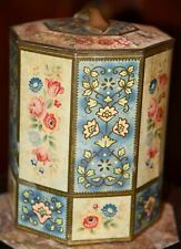"""Vintage BELGIUM Metal Tin Round Container With Lid Yellow Blue Cabbage Roses 8"""""""