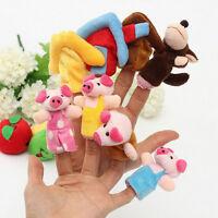 8pcs drei Schweinchen Fingerpuppen Stofftiere Set Kinderlieder/Märchen-Set