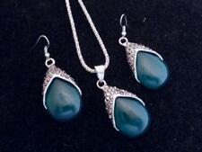 NEW - Silvertone Chain & Marcasite & Green Faux Jade Drop Necklace & Earrings