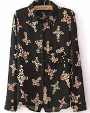 BLACK RELIC CROSS PRINT SHIRT SIZE 10 AU WOMENS NEW