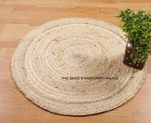Fair Trade Jute & Cotton Braided Natural Round Indian Rug 60cm Brown Carpet