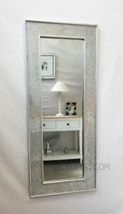 Crackle Mosaic Glass Silver Frame Wall Mirror Full Length 120x50cm handmade