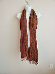 $90 NWT Red and Brown Striped Cricket Scarf  100% Silk