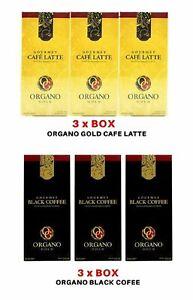 6 Box Organo Gold 3 Black Coffee & 3 Cafe Latte Gourmet Ganoderma FREE EXPEDITED