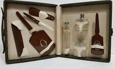 Vintage Brown Travel Grooming Kit Toiletry Set Case