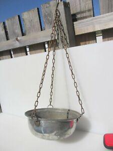 """Antique Copper Basket Hanging Pot Vintage Trough Planter Plant Iron Chain 10""""W"""
