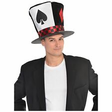 Adult Mens Poker Ace Mad Hatter Wonderland Hat Fancy Dress Fantasy Accessory