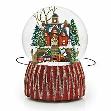 """CHRISTMAS CAROLING AT CITY HALL"" MUSICAL SNOW GLOBE WITH ROTATING TRAIN"