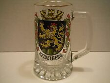 HEIDELBERG GERMANY 8-10 OZ GLASS BEER STEIN MUG GOLD RIM WITH HANDLE