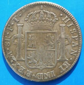 SPAIN 1802 KING CARLOS 1111(CHARLES) SILVER 8 REAL COIN, IN  FINE/VF GRADE .