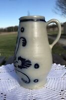 "Williamsburg Pottery Restoration Blue and Gray Salt Glazed Pitcher 7 1/4"" x 5"""