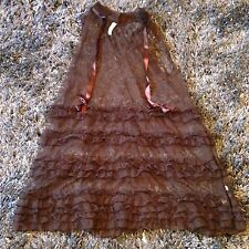 Free People Anthropologie Brown Sheer Tiered Ruffle Shift Dress Boho Size XS NEW