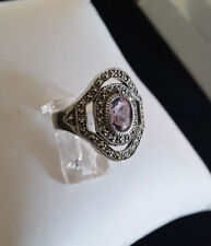 92.5 STERLING SILVER OVAL AMETHYST MARCASITE RING SIZE 8 - ARGENT CREATIONS