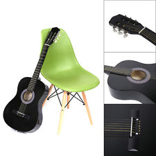 38 inch Beginners Practice Acoustic Guitar with Pick 6 String Linden Wood Black