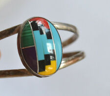 Zuni signed BT silver cuff bracelet mosaic gemstones sleeping beauty turquoise