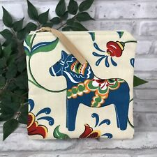 Swedish Dala Horse Ivory / Ecru n Blue Dalahäst  Kurbits Zipper Pouch Makeup Bag