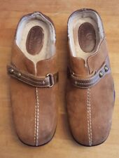 Cole Haan Lt Brown Suede & Bronze Leather Faux Fur Lined Clogs Size 7.5