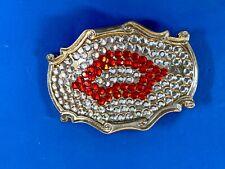 Kiss red and white rhinestone lip marks belt buckle
