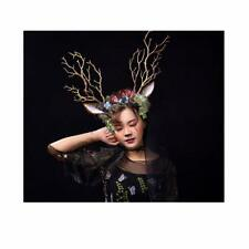 Steampunk Fairy Witch Tree Branches Antlers Headband Cosplay Deer Ear Headpiece