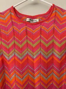 Anthropologie S BETH BOWLEY Pink Chevron Zigzag Pointelle Knit Dress Excellent!