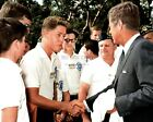 PRESIDENT JOHN F. KENNEDY GREETS BILL CLINTON AGE 16 IN 1963 8X10 PHOTO (EP-875)