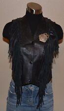 SHAF LEATHER Black Western Fringe Pony Express Messenger Badge Vest Women's XS