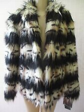ADRIENNE LANDAU FAUX FUR MULTI-COLOR  LONG SLEVE COAT JACKET SIZE 3 X - NWT