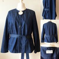 M&S Blue Denim Quilted Arty Avant Garde Jacket 18 Quirky Utility Belt Zip