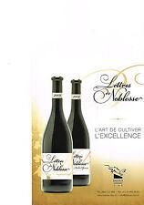 PUBLICITE ADVERTISING  2012   BADOUX    vin   LETTRES de NOBLESSE