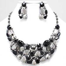 Chunky Black Crystal Hematite Chain Necklace Earring Set Fashion Costume Jewelry