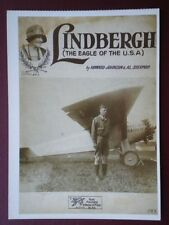 POSTCARD AIR LINDBERGH - THE EAGLE OF THE USA - SONG SHEET