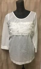Zucca Women's Size Medium 3/4 Sleeve White Shirt/Top With Elastic Front