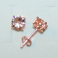 1Ct Round Cut Peach Morganite Stud Earrings 14k Rose Gold Over Gift For Her