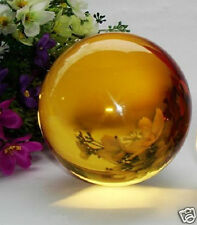 40MM+Stand Natural yellow Obsidian Sphere Large Crystal Ball Healing Stone A5