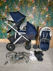 Uppababy Vista 2015-2018 version in Taylor blue ( navy) double buggy