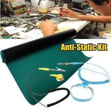 ESD Anti Static Desktop Wrist Strap+Ground Wire + Grounding Mat Green For Repair