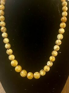 Antique  Pressed Egg Yolk Butterscotch Baltic Amber Beads Necklace