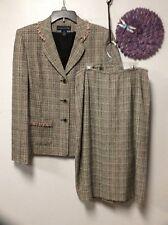 Ladies skirt suit size 10 jacket tweed beige pink PRESTON & YORK silk rayon 131