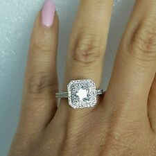 2 C 14k Yellow Gold Halo square Princess man made diamond Engagement ring S 6.5