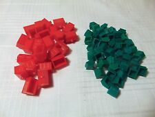 Monopoly Game - 25 Red Plastic Hotels & 50 Green Plastic Houses Pieces Parts