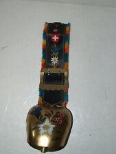 Switzerland-Large Swiss Bell-Leather Strap Fringe-Hand Painted - Signed